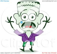 clipart of a scared halloween frankenstein crying royalty free