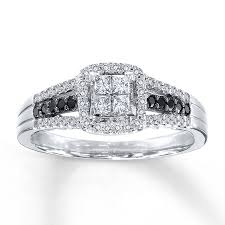 Kay Jewelers Wedding Rings by Kay Black White Diamonds 1 2 Ct Tw Engagement Ring 10k White Gold