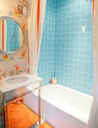 Orange Bathroom Decorating Ideas Wonderful Wall Clock Wonderful - Colorful bathroom designs