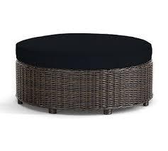 Patio Furniture Cushion Slipcovers Torrey Round Ottoman Cushion Slipcover Sunbrella R Black