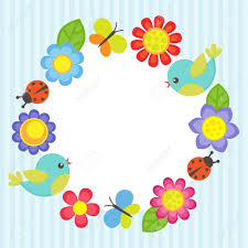 Flowers For Birds And Butterflies - frame with flowers birds ladybugs and butterflies royalty free