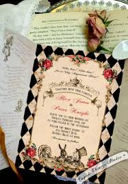 personalized wedding invitations in gatefold invitations mad hatter tea party