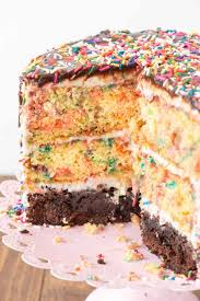 funfetti brownie layer cake crazy for crust