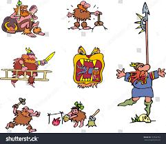 miscellaneous comic vikings set cartoon vector stock vector