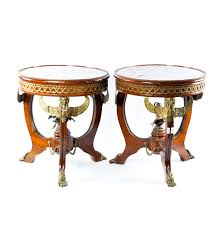 vintage egyptian revival mahogany drum tables with brass accents
