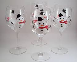holiday snowman hand painted wine glasses set of 4 made to order
