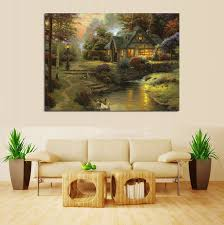 kinkade cottage by river pastoral landscape painting canvas