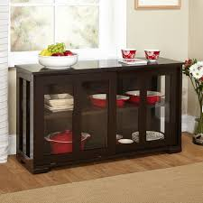 espresso sideboard buffet dining kitchen cabinet with 2 glass