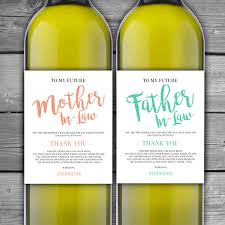 engagement gift from parents personalized and in wine label wedding thank