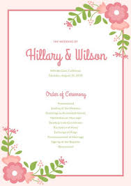 wedding program pink and green floral wedding program templates by canva