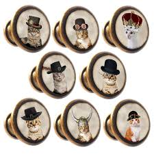 zinc alloy knobs cats in hats 30mm cupboard drawer door handles