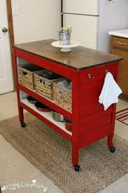 kitchen island red repurposed dresser into kitchen island with general finishes