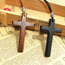 discount wooden cross pendant necklace vintage beads leather cord