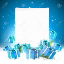 blue christmas greeting card with gift boxes in the snow and