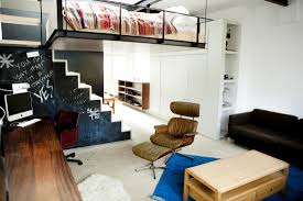 welcoming london home boasts ingeniously suspended living room bed