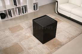 modern black end table black high gloss finish modern end table w mini bar
