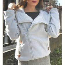 inclined zipper pockets long sleeve pullover hoodie gray m in
