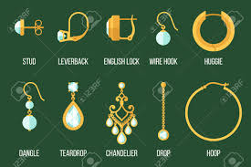 set of different earring styles and closure types flat style