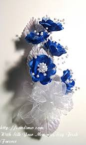 White Corsages For Prom Blue And White Prom Or Wedding Silk Flower Wrist Corsage
