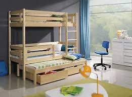 BERT TRIPLE BUNK BED WITH MATTRESSES AND STORAGE DRAWERS - Triple bunk beds with mattress