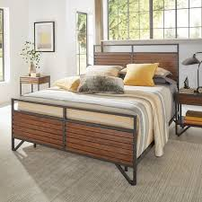 Wood And Metal Bed Frame Chico Stacked Cherry Wood And Metal Bed By Inspire Q Modern Free