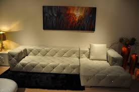 white leather sectional sofa with pillow for small living room