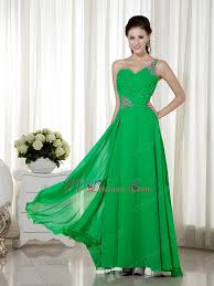spring green chiffon prom dress with one shoulder neck