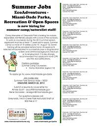 Sample Camp Counselor Resume by Summer Job Arch Creek Park U0026 Museum