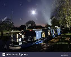 emma maye at night a narrow boat moored on the leeds and liverpool