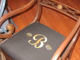 monogram cushions for your dining room chairs come on in