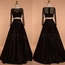black ball gown two piece prom dresses long sleeves u2013 mypromdress