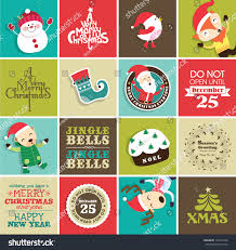 christmas design elements greeting card gift stock vector