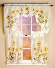Sunflower Valance Kitchen Curtains by Cottage Floral Window Treatment Sets Ebay