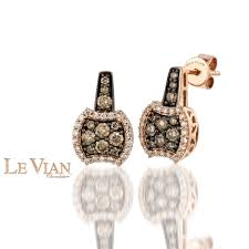 diamonds earrings le vian chocolate diamonds earrings in 14k strawberry gold 3 4ctw