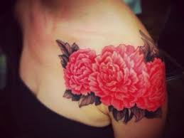 red ink peony flowers tattoo on left shoulder
