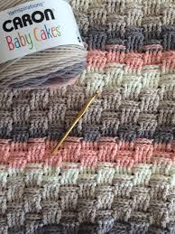 basketweave blanket with caron baby cakes in dreamy peach using a