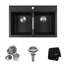 Drop In Kitchen Sinks Shop Kraus Granite 22 In X 33 In Black Onyx Double Basin Granite