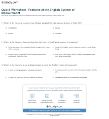 quiz u0026 worksheet features of the english system of measurement