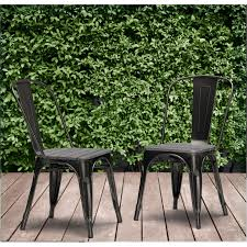 Tabouret Bistro Chair Outdoor Tabouret Bistro Chair With Wood Seat Charcoal Set Of 2