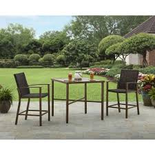 High Bistro Table Set Outdoor Better Homes And Gardens Tyne Creek 3pc High Bistro Set Walmart Com