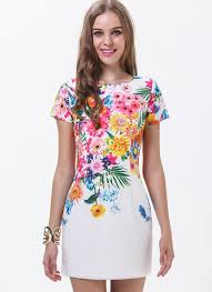 print dress shop white sleeve florals print dress online sheinside