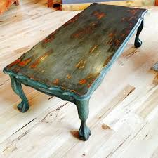Painted Coffee Table Vintage Painted Coffee Table Rustic Chippy Paint Distressed