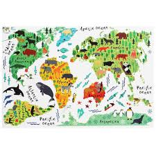 World Map Wall Decal Removable Animal World Map Wall Decal Art Sticker Kids Nursery