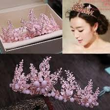 prom hair accessories pink bridal crown handmade beaded tiara wedding hair