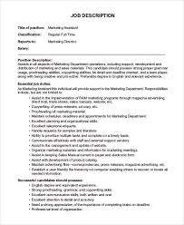 job description marketing assistant marketing assistant job
