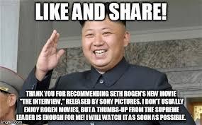 Seth Rogen Meme - kim jong un movie critic imgflip