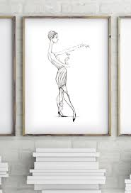 cocktail sketch art deco flapper cocktail dress woman black and white sketch