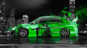 green mitsubishi lancer 4k mitsubishi lancer evolution jdm anime samurai aerography city