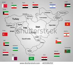 middle east map with countries middle east vector map set states stock vector 463186202