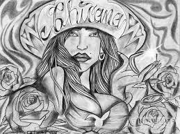drawn smokey chicano art pencil and in color drawn smokey